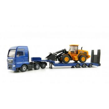 1790 Играчка Man Truck With Low Loader And Jcb Wheel Loader